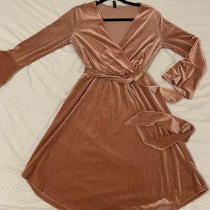 H&M Velour faux wrap dress with tie size 10